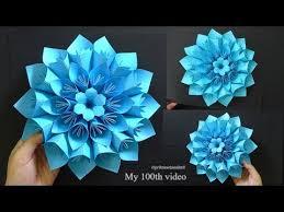 Paper Folded Flower Origami Paper Flower Tutorial Giant Paper Flower 100th Video
