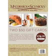 gift cards tickets mccormick schmick s seafood restaurant two 50 gift cards