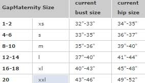 Maya Maternity Size Chart Gap Maternity Size Chart Swap Com Your Affordable Thrift