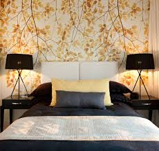 bedroom wallpaper designs. Nice Looking Leaves Bedroom Wallpaper Design With White Headboard And Black Double Table Lamp Inspiration Designs R
