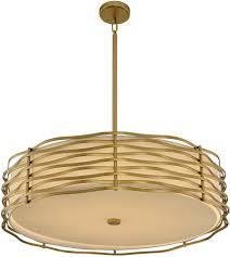 kalco 312754vbr paloma modern vintage brass led drum pendant light fixture kal 312754vbr