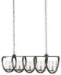 contemporary maximus rectangular chandelier 5 light pyrite bronze