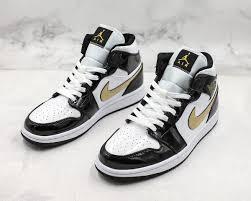 air jordan 1 mid patent leather black gold