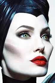 angelina jolie maleficent sculpted cheekbones soft smokey eye bright red lips