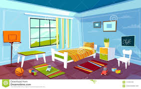boy bed furniture. Download Child Room Vector Cartoon Illustration Of Kid Boy Bedroom Interior Furniture And Toys Background Stock Bed