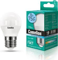 <b>Лампочка Camelion LED8</b>-G45/<b>845</b>/<b>E27</b>, Холодный свет, <b>E27</b>, 8 Вт ...