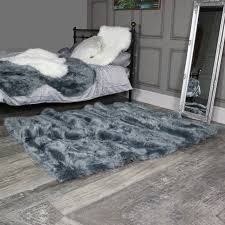 extra large grey faux fur rug 160cm x 230cm