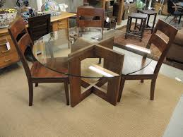 affordable home furniture s round clear glass dining table frameless design using brown polished walnut