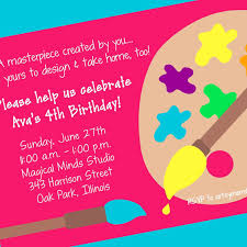 Invitation Words For Birthday Party Art Party Invitation Art Party Printable Invitation
