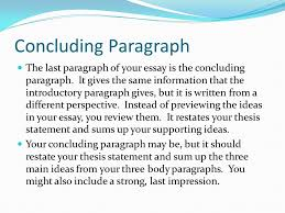 three parts of an essay introduction body conclusion ppt  concluding paragraph