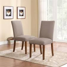 dorel living linen parsons chairs 2 pack taupe dark pine