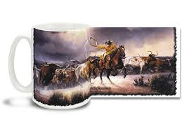 The shot of espresso is perfect for an extra morning jolt. Lightning In The Sky Roping Cowboy 15oz Mug Cuppa