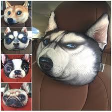 3d print dog cat face car headrest neck pillow stuffed plush car holder handger