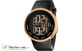 gucci 1142. gucci i-gucci chronograph lcd display quartz men\u0027s watch, gold plated, black dial, ya114217 1142