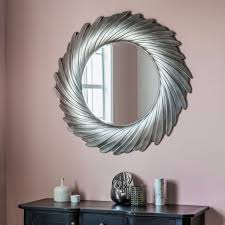lowry unique radial design extra large aged silver round wall mirror 40 diam