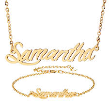 personalized gold name necklace samantha script necklace for women gold choker chain necklace pendant nameplate bracelet set gift