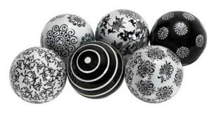 Decorative Balls For Bowl Set of 60 Black and White Balls Globe Imports 56