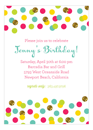 Polka Dot Invitations Glitter Color Confetti Invitation