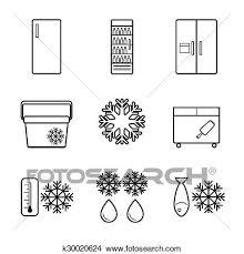 ベクトル 冷蔵庫 線 アイコン セット クリップアート切り張りイラスト絵画集