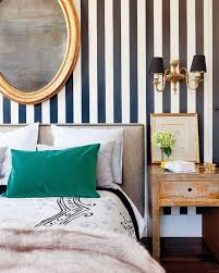 Classy Bedroom with Vertical Striped Walls