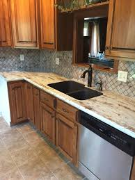 Formica Kitchen Cabinet Doors River Gold Formica Countertops With Tyvarian Tile Backsplash My