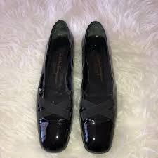 details about salvatore ferragamo womens black patent leather loafer shoe sz 9 5 2a