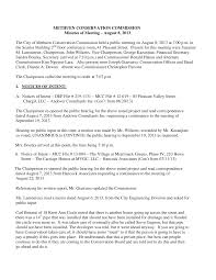 METHUEN CONSERVATION COMMISSION Minutes of Meeting – August 8, 2013 The  City of Methuen Conservation Commission held a public