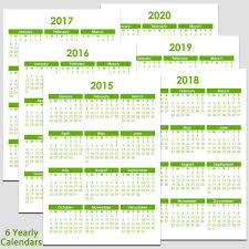 Printable 2015 To 2020 Yearly Calendar 8 1 2 X 11 The