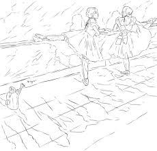 Disegno Di Due Ballerine Alla Barra Di Edgar Degas Da Colorare