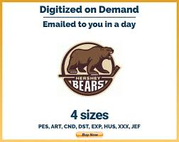 Bear Claw Embroidery Design Hershey Bears Hockey Sports Logo Embroidery Design 4
