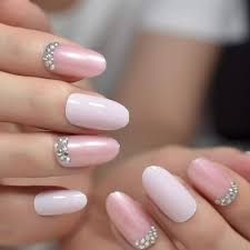 Light Pink Nails With Rhinestones Amazon Com 24pcs Kit Light Pink Artificial Nails With