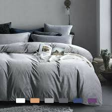 3 pieces duvet cover set white and grey