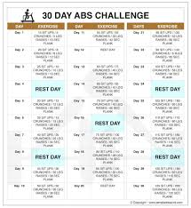 30 Day Leg Challenge Chart 30 Day Abs Challenge Chart Before And After Results Abs
