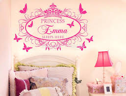 surprising personalized wall decals for kids rooms girl wall stickers princess sleeps here with your personalized