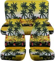 yellow w palm tree hawaiian car seat covers