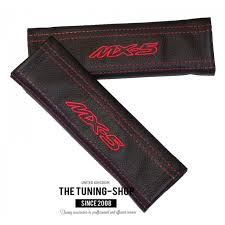 seat belt covers x 2 genuine black leather custom embroidery mx 5 with red stitching