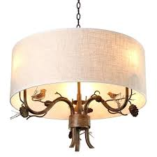 light cottage style drum fabric shade curved branch arms 3 light chandelier bathroom ceiling lights