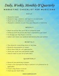 Weekly Checklist A Daily Weekly Monthly Quarterly Marketing Checklist For