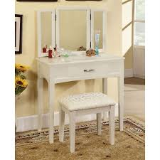 furniture of america potterville white makeup vanity