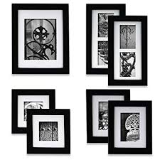 black picture frames wall. Delighful Black Gallery Perfect 7 Piece Black Wood Photo Frame Wall Kit Includes  Frames Throughout Picture Frames