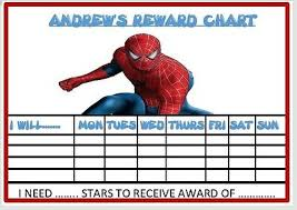 Spiderman Reward Chart Spiderman Personalised Reward Chart Kids Childminder School