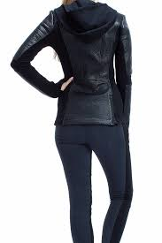 blanc noir asymmetrical hooded moto jacket front full image