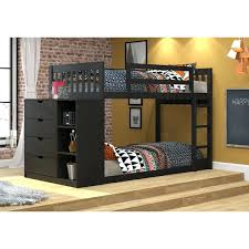 bunk bed with shelf kids mission twin over chest and storage attachment uk