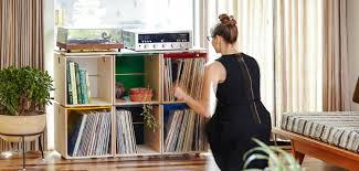 stackable vinyl record storage cubes