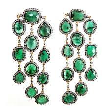 14k yellow gold natural diamond emerald pave 925 sterling silver handmade gemstone chandelier earrings jewelry