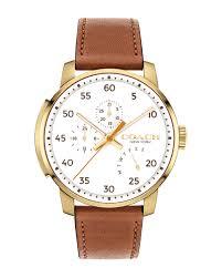 coach 42mm men s bleecker leather watch