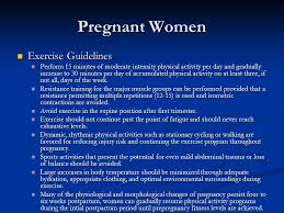 Exercise guidelines for pregnant women