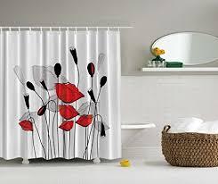 black white red shower curtain. art prints floral decor bouquet garden branches carnation clover blossom sprout buds curtains bathroom fabric black red and white shower curtain o