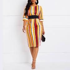 <b>Sexy Bodycon</b> Midi Dress Women Elegant Color <b>Striped</b> Street ...