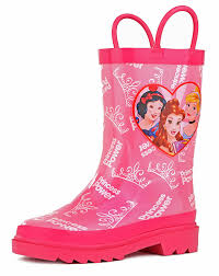 amazon com disney kids girls princess character printed amazon com disney kids girls princess character printed waterproof easy on rubber rain boots toddler little kids boots